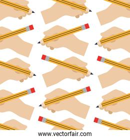 hands holding pencil creativity design pattern
