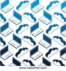 laptop computer with cloud computing pattern