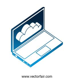 laptop computer with cloud computing isometric icon