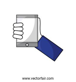 hand with tablet device isometric icon