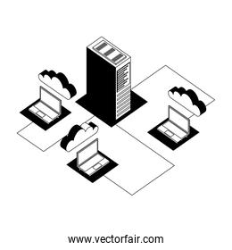 laptop computer with cloud computing and server isometric