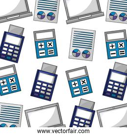 calculator with documents and voucher