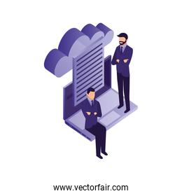 businessmen teamwork with laptop and cloud computing