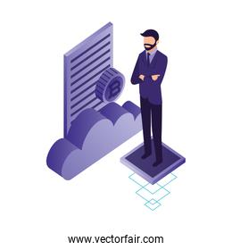 businessman with cloud computing and set icons