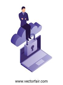 businessman with cloud computing and set icons isometric icon