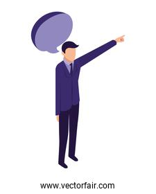 elegant businessman with hand up and speech bubble
