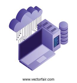 cloud computing with teamwork and icon data server