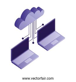 laptop computer with cloud computing and electronic circuit