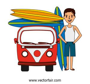 surfer with van and surfboards isolated icon