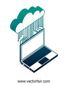 cloud computing with electronic circuit and laptop computer