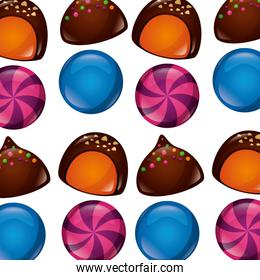 sweet candies icon pattern
