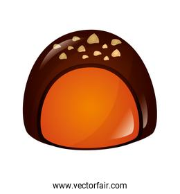 sweet candy of chocolate isolated icon