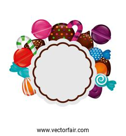 frame with sweet candies isolated icon