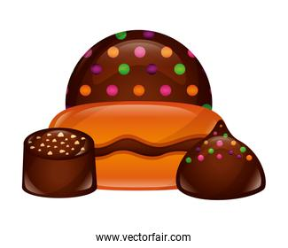sweets cakes of chocolate isolated icon