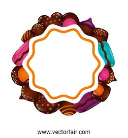 sweet chocolate macarons chips confetionery frame