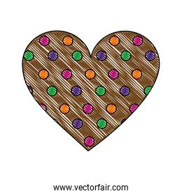 cookie of chocolate in shape heart isolated icon