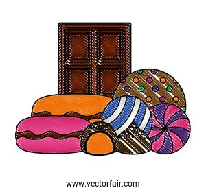 chocolated bar with sweet candies isolated icon