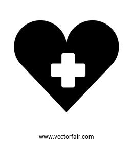medical heart with cross symbol silhouette isolated icon