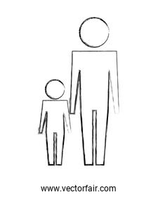 man and son family together pictogram