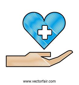hand with medical heart and cross symbol