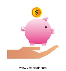 hand with savings piggy isolated icon