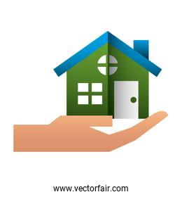 hand with house building icon