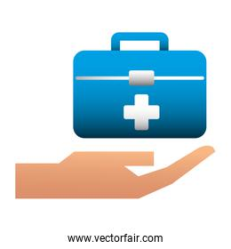 hand with kit medical isolated icon