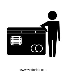man pictogram with bank credit card