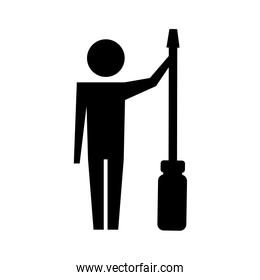 man pictogram with screwdriver tool support