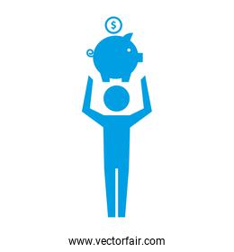 man pictogram holding piggy bank with coin