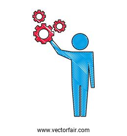 man pictogram with gears mechanic wheels