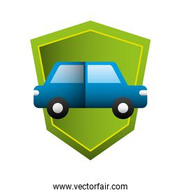 car sedan with shield silhouette isolated icon