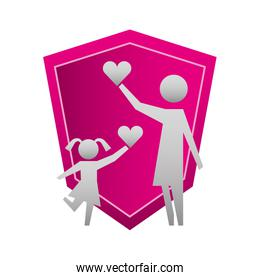 mother and daughter with hearts and shield silhouette