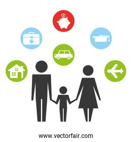 parents with son and set icons silhouette