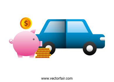 car sedan with pig money silhouette isolated icon