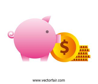 savings piggy and money isolated icon