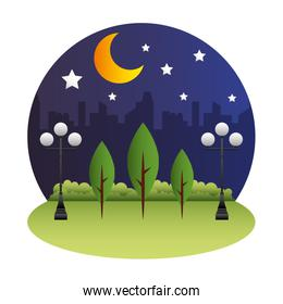 park scene at night isolated icon