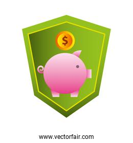 savings piggy with money and shield isolated icon