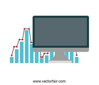 computer monitor with statistics graphical