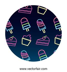 neon pattern cupcake cake and popsicle ice cream