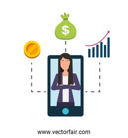 businesswoman and smartphone money bag diagram coin