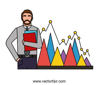 businessman with folder papers and statistic chart business