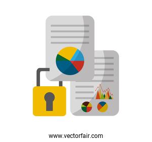 document with statistics graphic and padlock