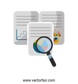 document with statistics graphic and magnifying glass