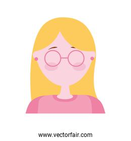 head woman with eyeglasses avatar character