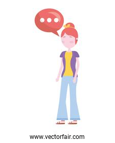 young woman with speech bubble avatar character