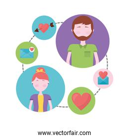 young couple with set icons isolated icon