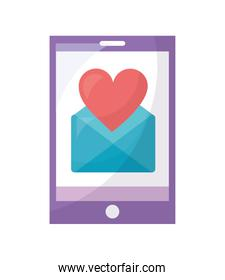 smartphone with envelope mail and heart isolated icon