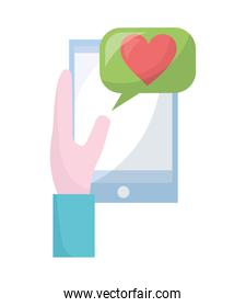 hand using smartphone with heart and speech bubble