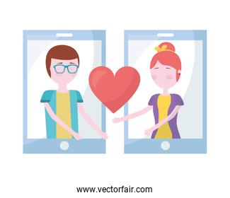 couple in smartphone with hearts isolated icon